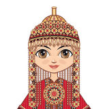 Dziewczyna w Turkmeńskiej sukni odziewa dziejowego Obrazy Royalty Free