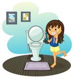 Dziewczyna w wygoda pokoju ilustracja wektor
