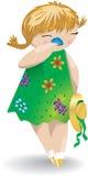 Dziewczyna w zielonej sukni z kapeluszem obwąchuje kwiatu Zdjęcie Royalty Free