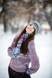 Dziewczyna w zima lesie Obraz Stock