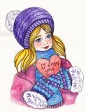 Dziewczyna w zimie odziewa z sercem Zdjęcie Royalty Free