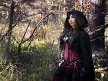 Dziewczyna wampir w rocznik sukni Zdjęcia Stock