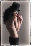 dziewczyna wierzchołek kapeluszowy tajemniczy Obrazy Royalty Free