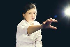 Dziewczyna wirtualny astronautyczny ruch Zdjęcie Royalty Free
