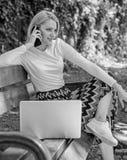 Dziewczyna wp8lywy marzycielska przewaga online zakupy Dziewczyna siedzi ławkę z notatnika wezwania telefonem Save twój czas z za obraz stock