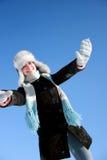 dziewczyna wręcza w górę zima Zdjęcia Stock