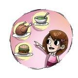 Dziewczyna wskazuje jedzenie ilustracja wektor