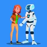 Dziewczyna Wszczyna pulpit operatora smart home robota pomagiera wektor button ręce s push odizolowana początku ilustracyjna kobi royalty ilustracja