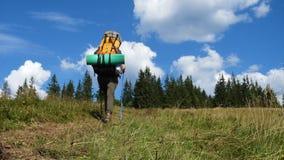 Dziewczyna wycieczkowicz z plecakiem na trawy wzgórzu zbiory wideo