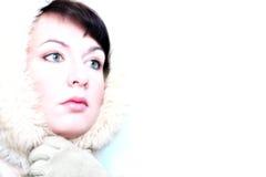 dziewczyna wygląda zimy lodu zdjęcie stock