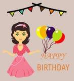 Dziewczyna życzy ci wszystkiego najlepszego z okazji urodzin ilustracja wektor