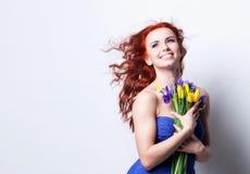 Dziewczyna z żółtym tulipanem Obrazy Royalty Free