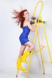 Dziewczyna z żółtym tulipanem Fotografia Stock