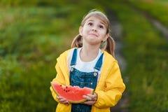 Dziewczyna z arbuzem Obrazy Royalty Free