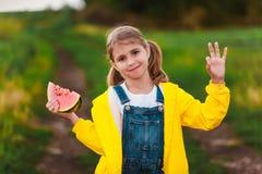 Dziewczyna z arbuzem Zdjęcie Stock