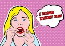 Dziewczyna zębów wektoru flossing ilustracja Ilustracji