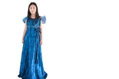 Dziewczyna z błękit długą piękną suknią zdjęcie stock