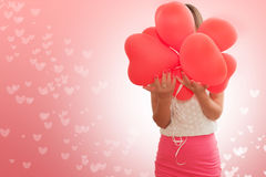 Dziewczyna z balonami kierowymi Zdjęcia Stock