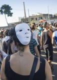 Dziewczyna z biel maską Obraz Royalty Free