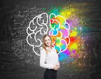 Dziewczyna z blondynem blisko blackboard z móżdżkową ikoną fotografia royalty free