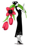 Dziewczyna z bukietem kwiaty Zdjęcia Royalty Free