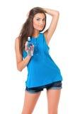 Dziewczyna z butelką woda Fotografia Stock