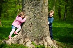 Dziewczyna z chłopiec bawić się kryjówkę aport - i - Zdjęcia Stock