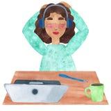 Dziewczyna z ciemnym kędzierzawym włosy w błękicie, słucha dumać w fermacie ilustracja wektor
