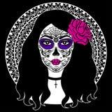 Dziewczyna z cukrowym czaszki makeup Meksykański dzień nieboszczyk Obrazy Stock