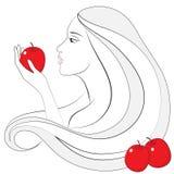 Dziewczyna z czerwonym jabłkiem Zdjęcia Stock