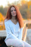 Dziewczyna z czerwonym włosy Obrazy Royalty Free