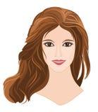 Dziewczyna z długim brown włosy z brązem przygląda się portret ilustracji