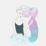 Dziewczyna z długim falistym różowym błękitnym włosy Zdjęcie Stock