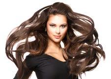 Dziewczyna z Długim Podmuchowym włosy Fotografia Stock