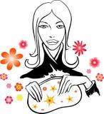 Dziewczyna z dekoracyjnymi kwiatami Zdjęcia Stock