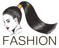 Dziewczyna z eleganckim błyszczącym ponytail Ilustracji