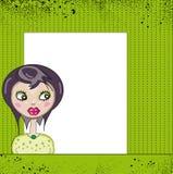Dziewczyna z etykietką na zielonym tle Obrazy Royalty Free