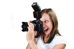 Dziewczyna z fachową cyfrową kamerą odizolowywającą na białym tle Fotografia Royalty Free