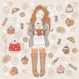 Dziewczyna z filiżanką herbata Zdjęcia Royalty Free