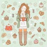 Dziewczyna z filiżanką herbata Obrazy Stock