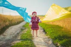Dziewczyna z flaga Ukraina Zdjęcia Royalty Free