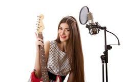 Dziewczyna z gitarą Obraz Stock