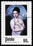 Dziewczyna z gołębiem, Anonimowy artysta, xix wiek, Polscy obrazy dziecka seria około 1974, zdjęcie royalty free
