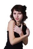 Dziewczyna z gramofonowym rejestrem obrazy royalty free