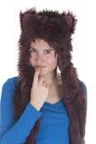 Dziewczyna z impreza rave kapeluszem obraz royalty free