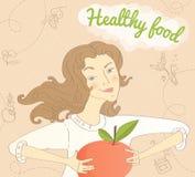 Dziewczyna z jabłkiem Obraz Royalty Free