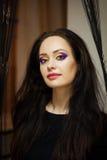 Dziewczyna z jaskrawym akwareli makeup Zdjęcie Stock