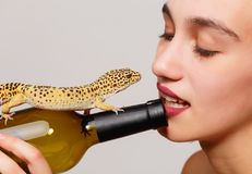 Dziewczyna z jaszczurką na szarym tle fotografia royalty free