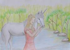 Dziewczyna z jednorożec Obraz Stock