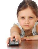 Dziewczyna z jej komputerową myszą Obraz Stock